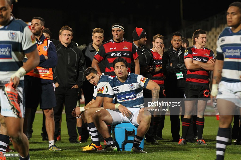 Bryce Heem and Ben Lam both of Auckland sit on a ice bucket after the ITM Cup Premiership Final between Canterbury and Auckland at AMI Stadium on...
