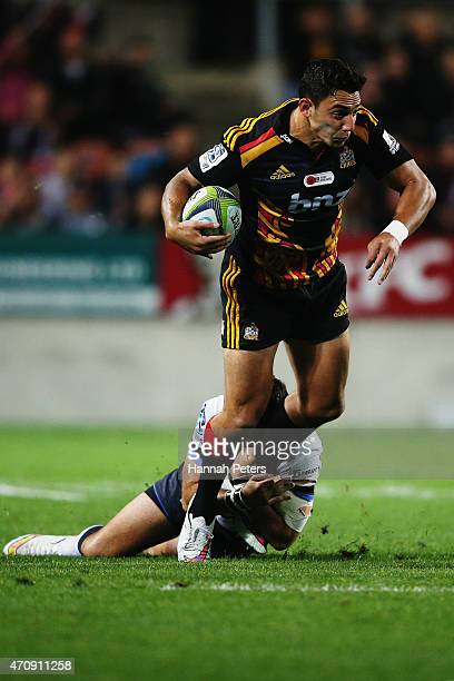 Bryce Heem of the Chiefs makes a break during the round 11 Super Rugby match between the Chiefs and the Force at Waikato Stadium on April 24 2015 in...