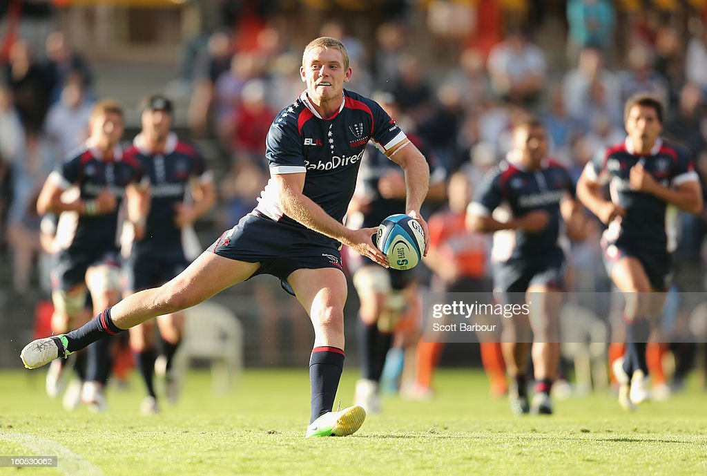 Bryce Hegarty of the Rebels passes the ball during the Super Rugby trial match between the Waratahs and the Rebels at North Hobart Stadium on February 2, 2013 in Hobart, Australia.