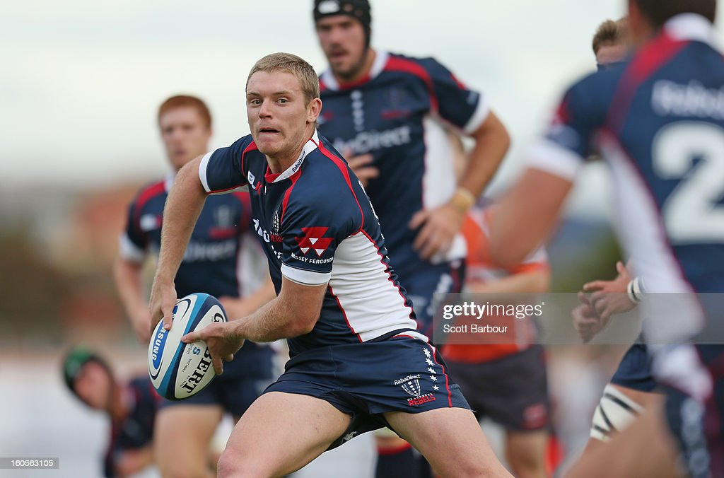 Bryce Hegarty of the Rebels runs with the ball during the Super Rugby trial match between the Waratahs and the Rebels at North Hobart Stadium on February 2, 2013 in Hobart, Australia.