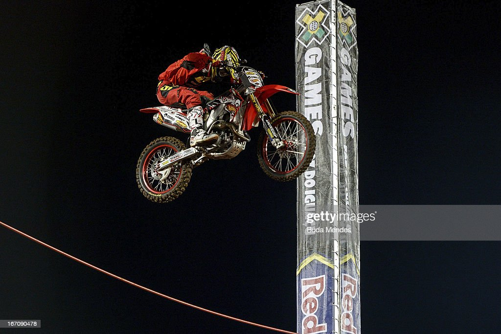 Bryce Hudson in action during Moto X Step Up at the X Games on April 19, 2013 in Foz do Iguacu, Brazil.
