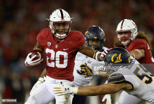Bryce Love of the Stanford Cardinal in action against the California Golden Bears at Stanford Stadium on November 18 2017 in Palo Alto California