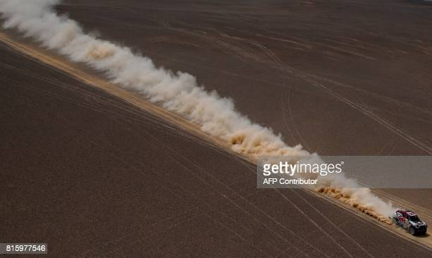 TOPSHOT Bryce Menzies and his US codriver Peter Mortensen compete during the Stage 9 of the Silk Way 2017 between Urumqi and Hami China on July 17...