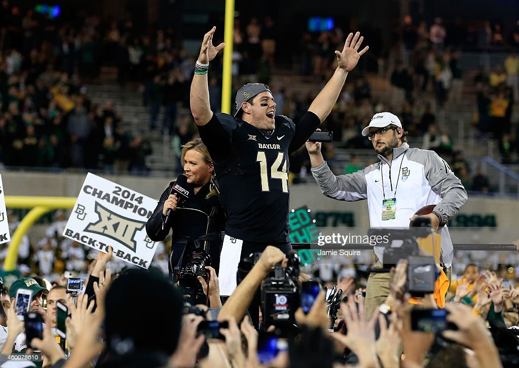Bryce Petty of the Baylor Bears celebrates following their win over Kansas State Wildcats on December 6 2014 at McLane Stadium in Waco Texas