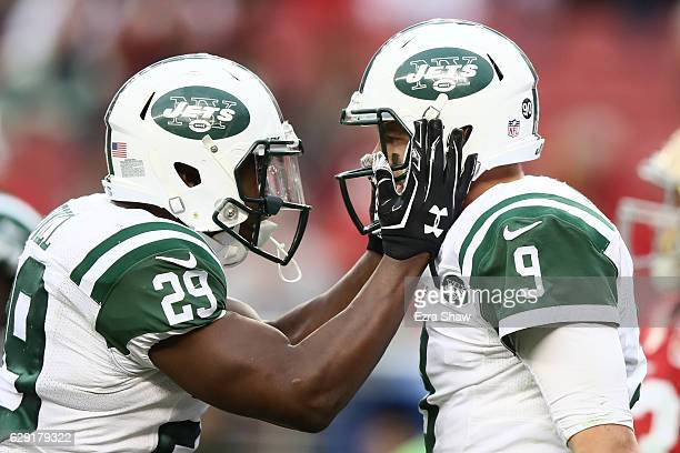 Bryce Petty of the New York Jets celebrates with Bilal Powell after a twopoint conversion against the San Francisco 49ers during their NFL game at...