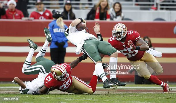 Bryce Petty of the New York Jets falls backwards into the end zone on score on a 2point conversion during the game against the San Francisco 49ers at...