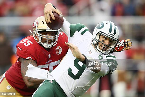 Bryce Petty of the New York Jets runs for a twopoint conversion against the San Francisco 49ers during their NFL game at Levi's Stadium on December...