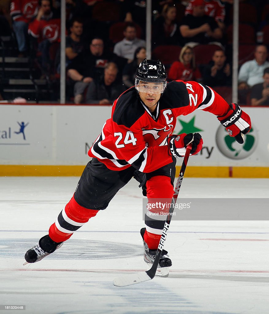 <a gi-track='captionPersonalityLinkClicked' href=/galleries/search?phrase=Bryce+Salvador&family=editorial&specificpeople=208746 ng-click='$event.stopPropagation()'>Bryce Salvador</a> #24 of the New Jersey Devils skates against the New York Islanders at the Prudential Center on September 19, 2013 in Newark, New Jersey.