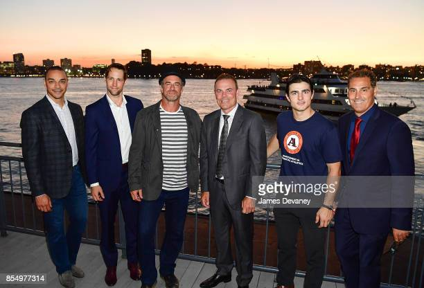 Bryce Salvador Travis Zajac Christopher Meloni Adam Oates guest and Chris John attend NextGen AAA Foundation Launch Event at Chelsea Piers Sunset...