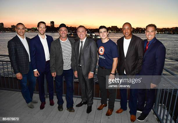 Bryce Salvador Travis Zajac Christopher Meloni Adam Oates guest John Starks and Chris John attend NextGen AAA Foundation Launch Event at Chelsea...