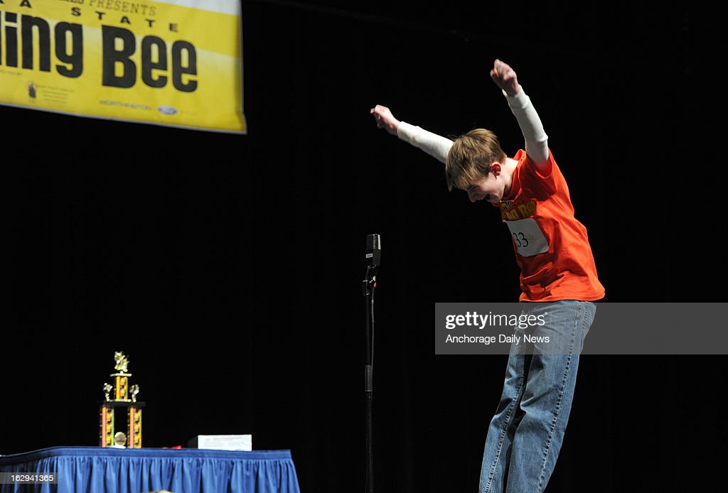 Bryce Tasso exults as he correctly spells 'neuropathy' to claim first place in the 2013 Alaska State Spelling Bee at the Alaska Center for the Performing Arts in Anchorage, Alaska, Friday, March 1, 2013. He will represent Alaska at the Scripps National Spelling Bee in Washington, D.C. in May.