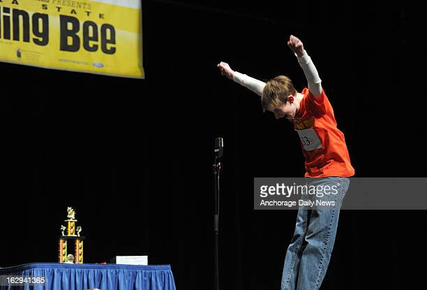 Bryce Tasso exults as he correctly spells 'neuropathy' to claim first place in the 2013 Alaska State Spelling Bee at the Alaska Center for the...
