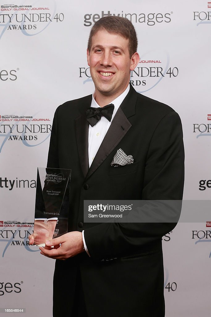 Bryce Townsend of GroupM ESP poses with award at the 2013 Forty Under 40 Awards on April 4, 2013 in Naples, Florida.