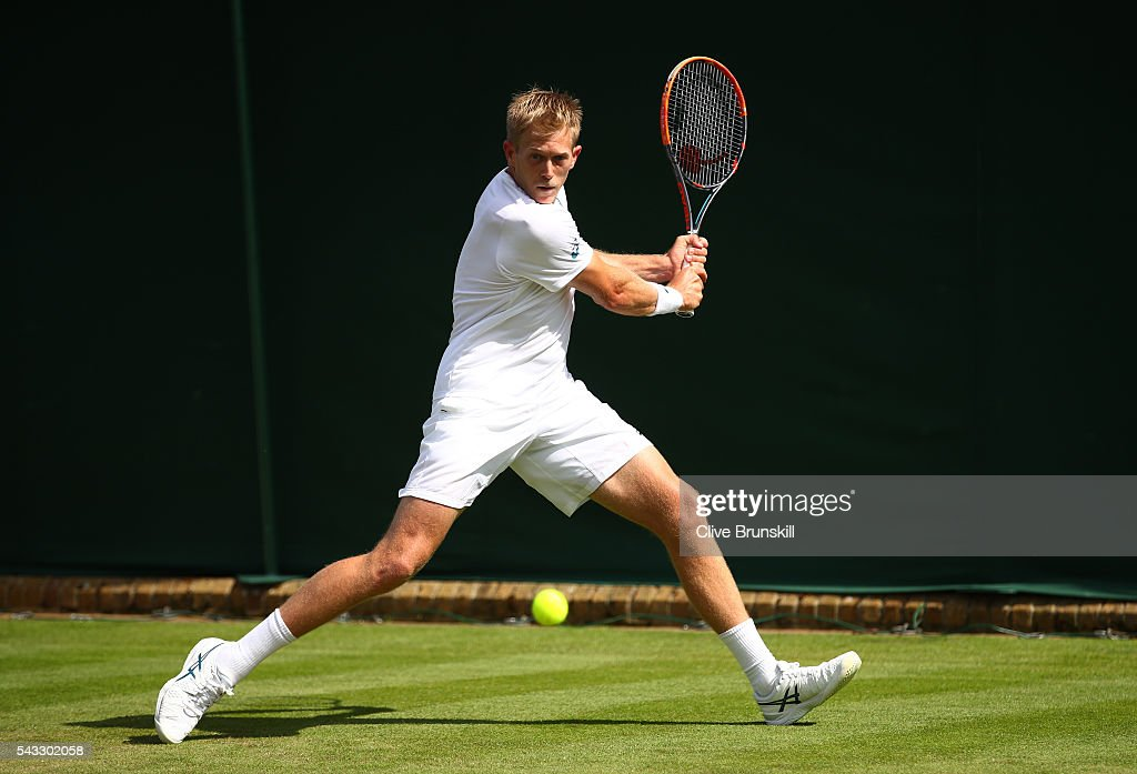 <a gi-track='captionPersonalityLinkClicked' href=/galleries/search?phrase=Brydan+Klein&family=editorial&specificpeople=594422 ng-click='$event.stopPropagation()'>Brydan Klein</a> of Great Britain plays a backhand shot during the Men's Singles first round against Nicolas Mahut on day one of the Wimbledon Lawn Tennis Championships at the All England Lawn Tennis and Croquet Club on June 27th, 2016 in London, England.