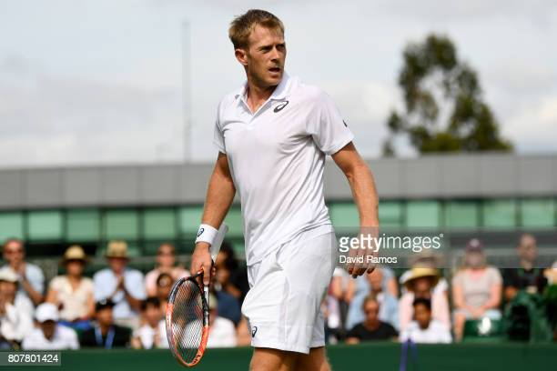 Brydan Klein of Great Britian looks on during the Gentlemen's Singles first round match against Yuichi Sugita of Japan on day two of the Wimbledon...