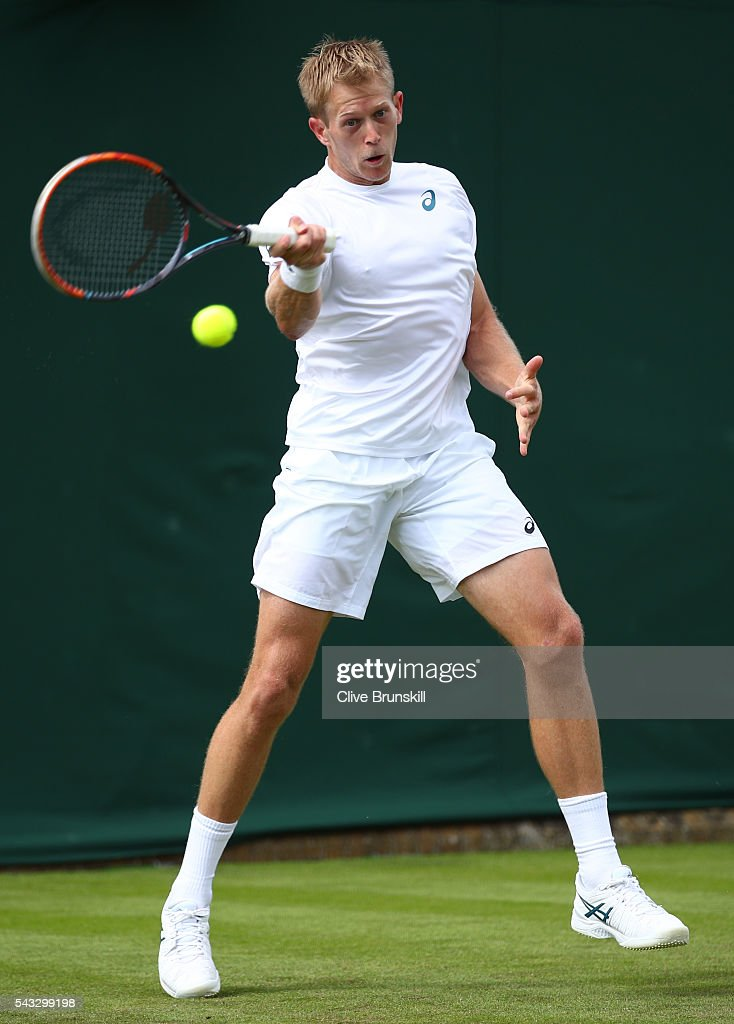 <a gi-track='captionPersonalityLinkClicked' href=/galleries/search?phrase=Brydan+Klein&family=editorial&specificpeople=594422 ng-click='$event.stopPropagation()'>Brydan Klein</a> of Great BVritain plays a forehand shot during the Men's Singles first round against Nicolas Mahut on day one of the Wimbledon Lawn Tennis Championships at the All England Lawn Tennis and Croquet Club on June 27th, 2016 in London, England.