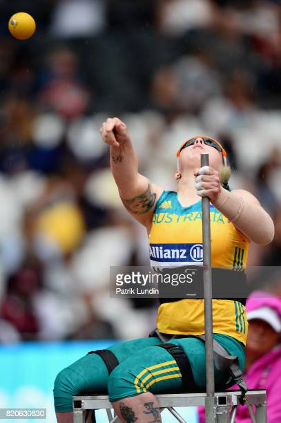 Brydee Moore of Australia competes in the Womens shot put F33 final during day nine of the IPC World ParaAthletics Championships 2017 at London...