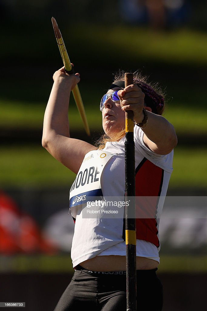 Brydee Moore of VIC competes in Women Javelin Throw Secured during day two of the Australian Athletics Championships at Sydney Olympic Park Athletic Centre on April 12, 2013 in Sydney, Australia.
