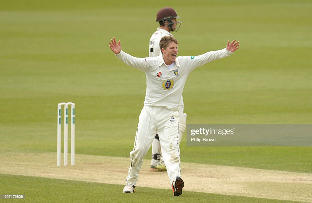 Brydon Carse of Durham appeals and dismisses Ben Foakes of Surrey during day two of the Specsavers County Championship Division One match between Surrey and Durham at the Kia Oval on May 2, 2016 in London, England.