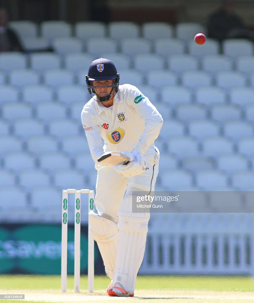 Brydon Carse of Durham batting during the Specsavers County Championship Division One match between Surrey and Durham at the Kia Oval Cricket Ground, on May 04, 2016 in London, England.