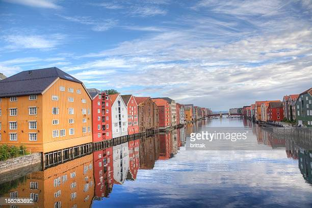 Bryggen in Trondheim, Norway. Buildings by the water. HDR.