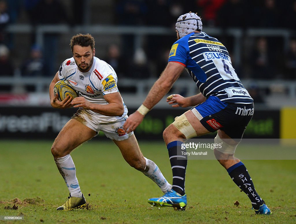 Bryn Evans of Sale Sharks tackles Phil Dollman of Exeter Chiefs during the Aviva Premiership match between Sale Sharks and Exeter Chiefs at the A J Bell Stadium on February 13, 2016 in Salford, England