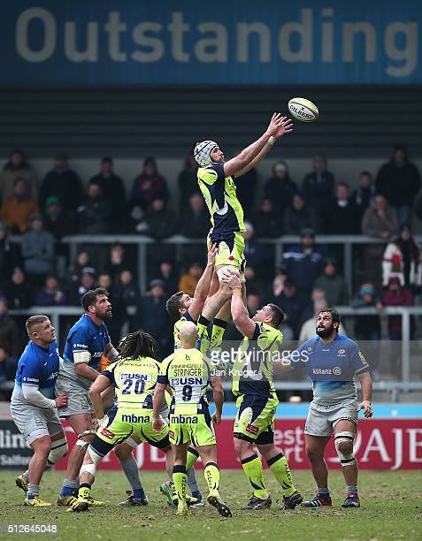 Bryn Evans of Sale Sharks takes a line out ball during the Aviva Premiership match between Sale Sharks and Saracens at AJ Bell Stadium on February 27...