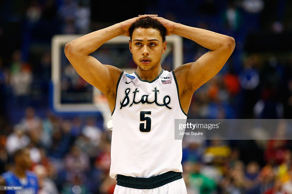 Bryn Forbes of the Michigan State Spartans reacts late in the game against the Middle Tennessee Blue Raiders during the first round of the 2016 NCAA...