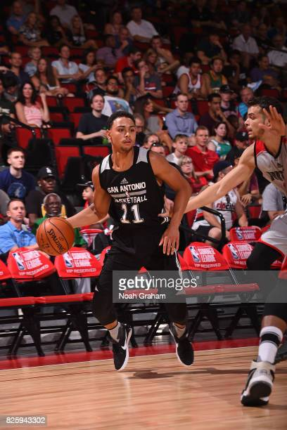 Bryn Forbes of the San Antonio Spurs dribbles the ball during the 2017 Las Vegas Summer League game against the Portland Trail Blazers on July 11...