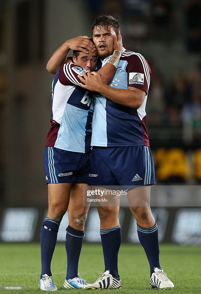 Bryn Hall (L) and Angus Ta'avao of the Blues celebrate their win during the round 3 Super Rugby match between the Blues and the Crusaders at Eden Park on March 1, 2013 in Auckland, New Zealand.