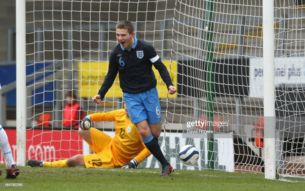 Bryn Morris, the England captain, celebrates after scoring the second goal during the UEFA European Under 17 Championship match between England and Slovenia at Pirelli Stadium on March 28, 2013 in Burton-upon-Trent, England.