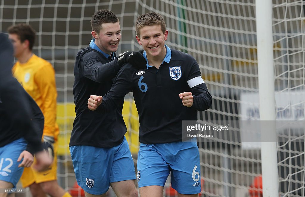 Bryn Morris,(C) the England captain, celebrates after scoring the second goal during the UEFA European Under 17 Championship match between England and Slovenia at Pirelli Stadium on March 28, 2013 in Burton-upon-Trent, England.