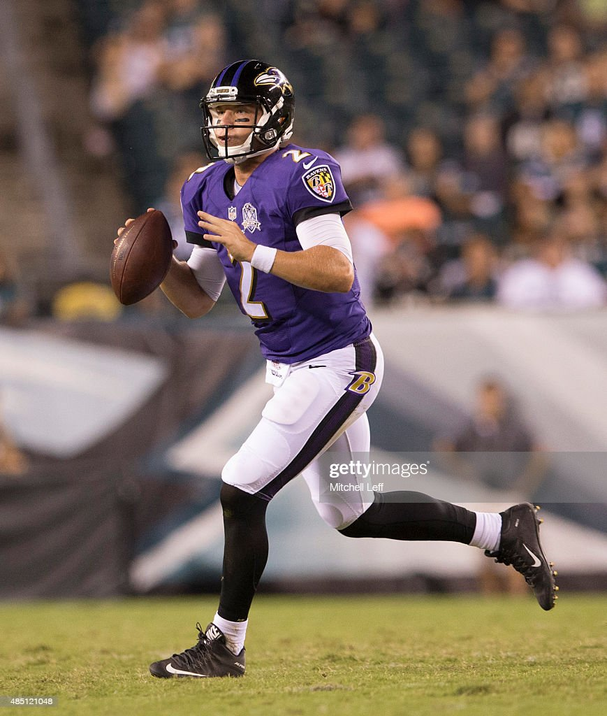 <a gi-track='captionPersonalityLinkClicked' href=/galleries/search?phrase=Bryn+Renner&family=editorial&specificpeople=6786211 ng-click='$event.stopPropagation()'>Bryn Renner</a> #2 of the Baltimore Ravens plays in the game against the Philadelphia Eagles on August 22, 2015 at Lincoln Financial Field in Philadelphia, Pennsylvania.