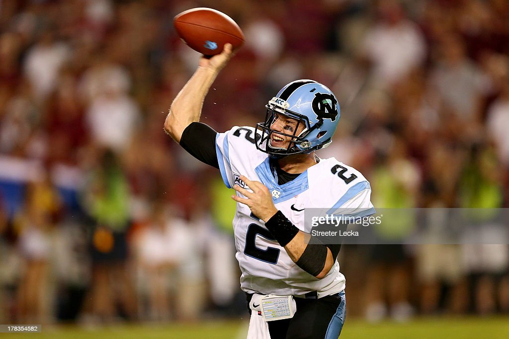 Bryn Renner #2 of the North Carolina Tar Heels throws a pass against the South Carolina Gamecocks during their game at Williams-Brice Stadium on August 29, 2013 in Columbia, South Carolina.