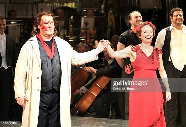 Bryn Terfel and Emma Thompson on stage as Sweeney Todd and Mrs Lovett at the press night performance of 'Sweeney Todd The Demon Barber of Fleet...