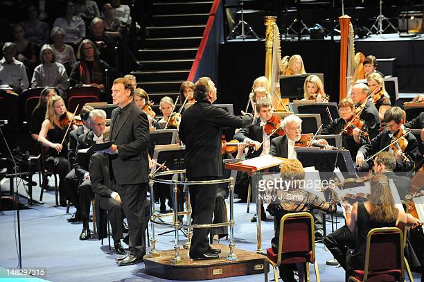 Bryn Terfel performs on stage conducted by Sir Mark Elder on the opening night of the BBC Proms Summer Series at Royal Albert Hall on July 13 2012 in...