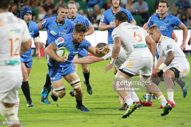 Brynard Stander of Force runs with the ball during the round nine Super Rugby match between the Force and the Chiefs at nib Stadium on April 22 2017...