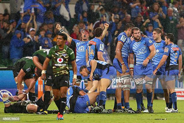 Brynard Stander of the Force celebrates winning the round 11 Super Rugby match between the Western Force and the Bulls at nib Stadium on April 26...