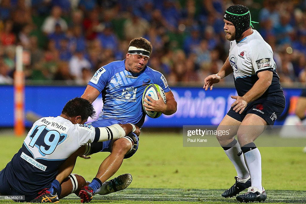 Brynard Stander of the Force gets tackled by Tala Gray of the Waratahs during the round nine Super Rugby match between the Force and the Waratahs at nib Stadium on April 12, 2014 in Perth, Australia.