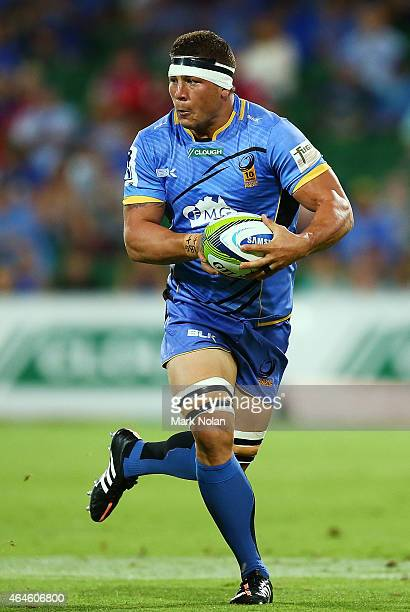 Brynard Stander of the Force in action during the round three Super Rugby match between the Western Force and the Hurricanes at nib Stadium on...