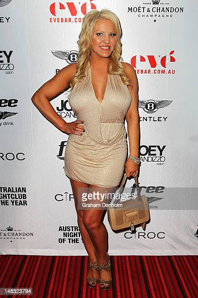 Brynne Edelsten arrives at the Chris Judd launch party at Eve Bar and Lounge on July 14 2012 in Melbourne Australia