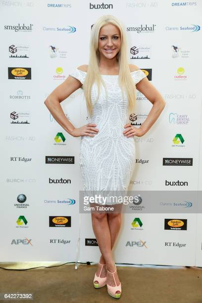 Brynne Edelsten arrives at the Fashion Aid marquee at the Kennedy Twilight Beach Polo on February 17 2017 in Melbourne Australia