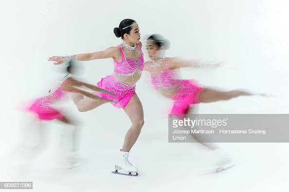 Brynne Mcisaac of the United States competes during the Junior Ladies Short Program on day two of the ISU Junior Grand Prix of Figure Skating on...