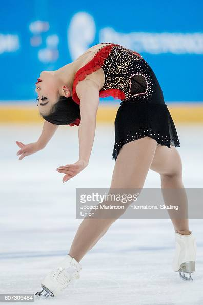 Brynne Mcisaac of the United States competes during the Junior Ladies Free Skating on day three of the ISU Junior Grand Prix of Figure Skating on...