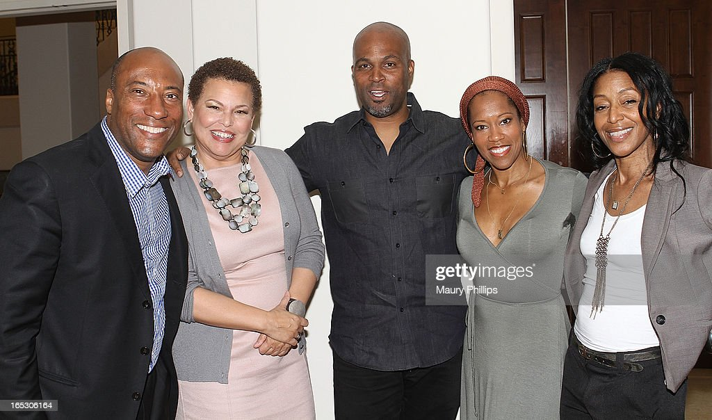 Bryon Allen, Debra Lee chairman/CEO of BET Networks, comedian Chris Spencer, actress Regina King and Robi Reed attend BET Networks 2013 Los Angeles Upfront at Montage Beverly Hills on April 2, 2013 in Beverly Hills, California.