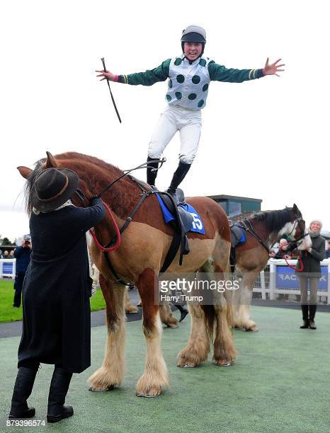 Bryony Frost celebrates on board Stobillee Sirocco after winning the Exeter Racecourse Clydesdale Stakes at Exeter Racecourse on November 26 2017 in...