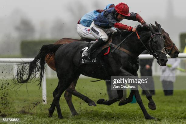 Bryony Frost riding Black Corton clear the last to win The mallardjewellerscom Novicesâ Steeple Chase at Cheltenham racecourse on November 18 2017 in...
