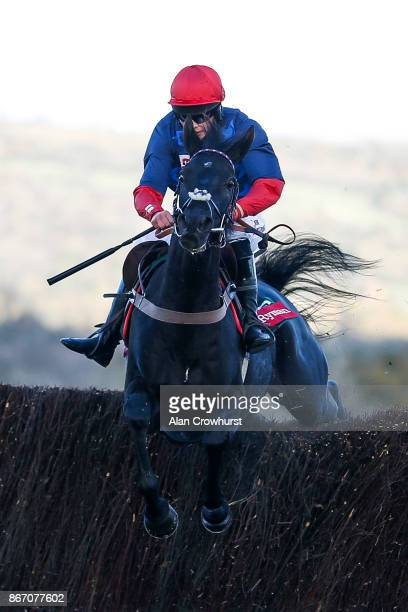 Bryony Frost riding Black Corton clear the last to win The Ryman Stationary Cheltenham Business Club Novicesâ Steeple Chase at Cheltenham racecourse...