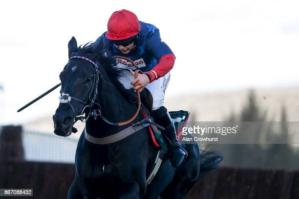 Bryony Frost riding Black Corton clear the last to win The Ryman Stationary Cheltenham Business Club Novices Steeple Chase at Cheltenham racecourse...