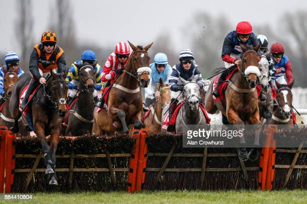 Bryony Frost riding Old Guard on their way to winning The Ladbrokes Handicap Hurdle Race at Newbury racecourse on December 2 2017 in Newbury United...